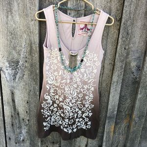Johnny Was JWLA ombré embroidered tunic tank boho
